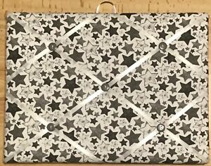 French Bulletin Board Photo Memo Board White w/ Gray Stars Print 9 x 12 inches