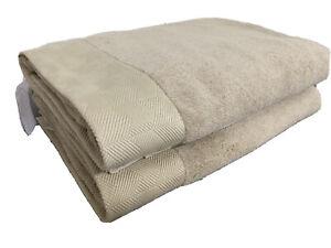 "FRETTE Diamonds Bordo 40"" x 71"" Set Of TWO Bath Sheets Towels Khaki Tan NEW"