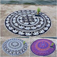 Indian Round Elephant Mandala Bohemian Beach Tapestry Picnic Throw Wall Hanging