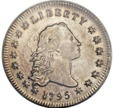 1795 Flowing Hair Silver Dollar Pcgs Au55, 2 Leaves, Spectacular Coin & Details