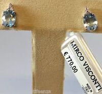 Orecchini in oro bianco 18kt 750/°°° MIRCO VISCONTI con Diamanti e Acquamarina