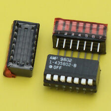 14× AMP 1-435802-8 7-POSITION DIP SWITCH 100mA@5V SIDE/PIANO BLACK/WHITE DIP-14†