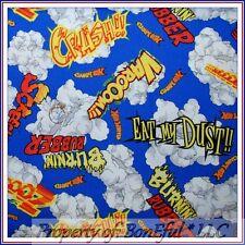 BonEful Fabric FQ Cotton Quilt Blue Super Hero Lg Race Car Hot Wheel Boy Cartoon
