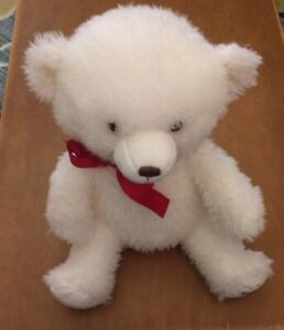Hallmark White Bear Plush With Red Ribbon 16""