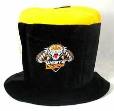 81890 WEST TIGERS NRL TEAM LOGO TEAM COLOURS MAD HATTER FUN NOVELTY TOP HAT
