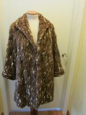 REAL MINK PAW FUR COAT Honey caramel Satin floral lining S-M 1930-1946 Vintage