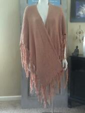 Rose Cardigan Sweater Bohemian Gypsy Fringed Shawl Open Poncho Ruana Cape