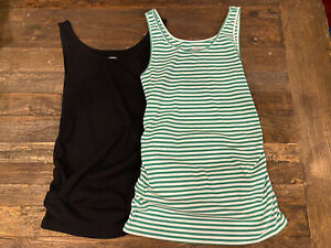 Old Navy First Layer Ribbed Long Rouched Tanks, set of 2- size L-NWT