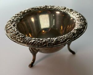 Vintage Sterling Silver S Kirk & Son 207 Footed Repousse Bowl