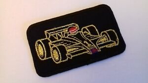 Gold Thread F1 Racing Car Sew on Patch Badge Retro Collector Item