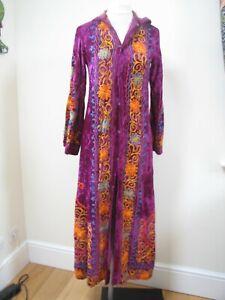 Vintage Original 1970s Purple Velvet Embroidered Hooded Kaftan Dress Jacket