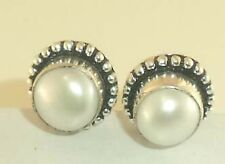 earring 1.5 cm Length Pearl 925 Silver Plated Gemstone Jewelry