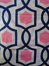NEW POTTERY BARN TWISTED TRELLIS PINK NAVY BLUE QUEEN FITTED SHEET