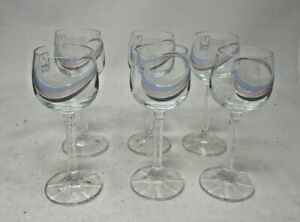 6 Vintage Stemmed Sherry Glasses 11 cms Tall