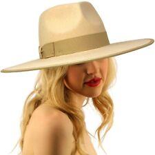 Unisex 100% Wool Felt Panama Derby Fedora Wide Brim Sun Hat Adjustable