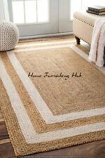 Decorative Mat Natural Jute Braided Handmade Rug Cotton Indian Weave Carpet Home