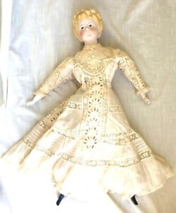 Antique Bisque/Parian Girl Doll with Cloth Body & Fancy Molded Hair - 24 Inches