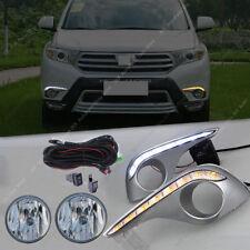 Clear LED DRL Lamp Fog Light Wiring o Assembly For Toyota Highlander 2011-2013