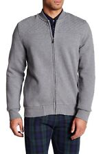 NEW MENS BEN SHERMAN FULL ZIP QUILTED CHEST GREY BASEBALL JACKET L $120