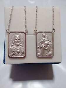 18k Scapular White Gold -  Lady of Carmel with heart of Jesus - Large Medal