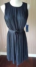 NWT Women's Anne Klein Black Pleated Sleeveless Belted Lined Dress Size 12