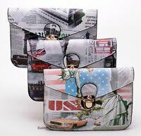Kleine Handtasche Umhänger Handytasche Smartphone Tasche London New York Paris