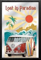 VW Volkswagen Bulli Paradise Spiegel Mirror Wandspiegel Bar Kneipe 30cm