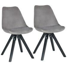 Stuhl Esszimmerstuhl Küchenstuhl 2er Set Grau Holz Beine Stoff Samt