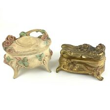 2 Victorian Metal Jewelry Boxes Vintage Floral