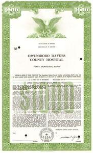 Owensboro Daviess County Hospital > 1963 Kentucky $1000 bond certificate
