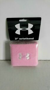 "Under Armour UA 3"" Performance Sports Wristbands Pink (2) Moisture Transport New"