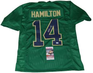 KYLE HAMILTON signed (NOTRE DAME FIGHTING IRISH) custom green jersey JSA Witness