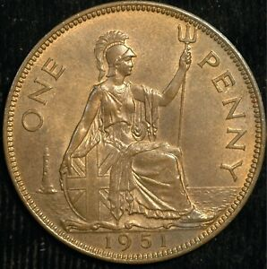Penny George VI 1951 UNC RARER Than Kew Gardens 50p only 120,000 minted (T100)