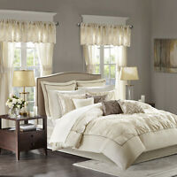 New Elegant Ivory Faux Silk Tufted Comforter Window 24 pcs set Cal King Queen