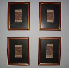 INDIAN PAINTINGS W ARABIC WRITING HAND PAINTED 4PC COLLECTION GOLD FRAMES GLASS