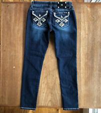 Miss Me Skinny Jeans Size 30 Embellished Flap Pocket Signature Rhinestone Crop