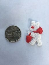 New listing Vintage Red Bear or Bunny Basket Embroidery Sew On Applique Patch Embellishment