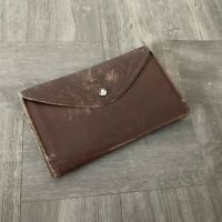 Vintage Mexican Leather Tri Fold Wallet Hand Tooled Brown Check Hold Snap Front