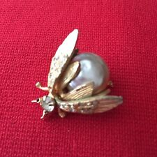 """Faux Pearl Gold Tone Metal 1"""" Vintage Insect Brooch Ladybug Clear Rhinestones"""