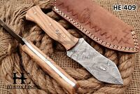 HUNTEX Custom Handmade Damascus Steel 20 cm Long Olive Wood Hunting Spear Knife