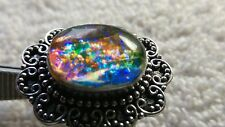 sz 8 GREEN DRAGONS BREATH FIRE OPAL FOILART COLOR CHANGE STERING SILVER RING 9g