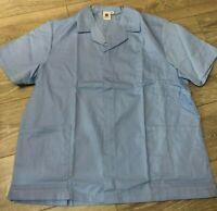 Mens hospital tunic top Nurse Carer Dentist Work Healthcare uniform Sky blue NEW