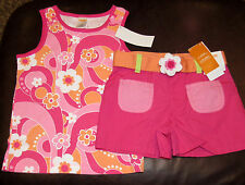 Gymboree Rainbow Cabana flower swirl pink top & colorblock shorts NWT 7