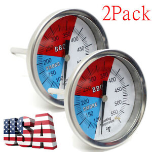 2Pack Temperature Thermometer Gauge Barbecue BBQ Grill Smoker Pit Thermostat BBQ