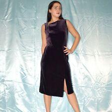 Dark Purple Velvet Evening Dress M Maxi Sheath Cocktail Polo