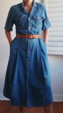 Sportscraft Vintage Denim Shirt MIDI Dress Short Sleeve Fits A 10 To 12