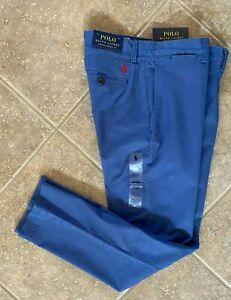 Polo Ralph Lauren Flat Front Chino Pants 34 x 34 Blue Stretch Straight NWT $98