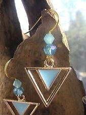 ATLANTIS TRIANGLE EARRINGS SPIRITUAL blessed BLUE PINK GOLD pyramid lumeria