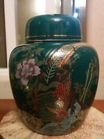 Vtg Green Porcelain Japanese Ginger Jar -w/Gold Gilt, Pheasant, & Flower Design