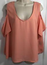 Attention Pink Women's Size XXL Scoop Neckline 3/4 Sleeve Cold Shoulder Top